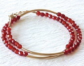 Red Carnelian Bracelet, Double Wrap Bracelet with Gold Tubes, Gold Filled Jewelry, SRAJD