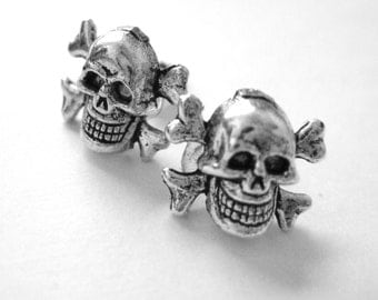 Skull Stud Earrings - Skull Accessories - Silver Skull Earrings - Skull Post Earrings - Skull Jewlery - Skull Earings