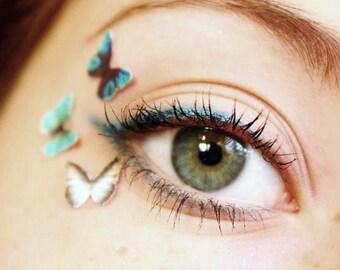 Tiny Temporary Tattoo Makeup - Teen Girl Gift - Temp Blue Eyeshadow Makeup Butterfly Eye Decals 3pcs