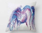 Purple Horse Watercolor PILLOW blue purple horse art  Home Decor Throw Pillow Interior design pillow-cover