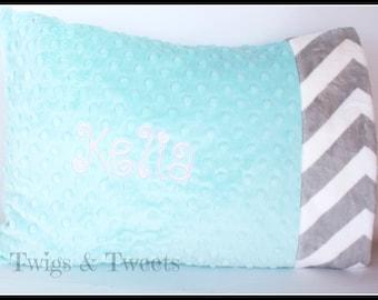 Personalized Minky Toddler Pillow Case- Aqua Tiffiny Minky