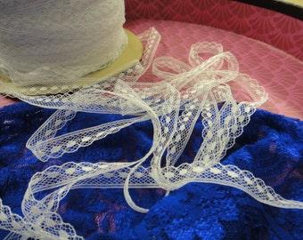 "100 yards 1/2"" ( 38mm ) ivory wedding bridal floral scalloped edge lace trim"