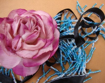"""20 yards 1 1/4"""" long ( with 3/8"""" black satin ribbon ) blue and clear beaded fringe trim for fashion designs dancewear ST"""
