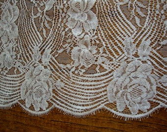 """26"""" Wide Solstiss Leavers Lace French White Cotton Floral Lace Wedding Lace Bridal Lace Antique Style Lace Made in France S119"""