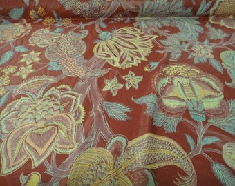 """35"""" repeat prints Vintage fabric """"Grenville Forest"""" by Schumacher Screen botanical cotton shine Prints in Raspberry color background"""