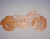 Handmade custom Scroll Saw  Fret wooden 1940 Indian 4 motorcycle wall plaque