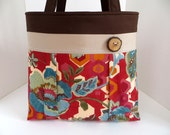 Dark Red Floral Pleated A-Line Bag - Spring Fabric Handbag - Diaper Bag - Rustic Tote Bag with Wood Tree Branch Button - Red Purse