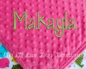 Personalized baby blanket- fuchsia pink with birds- 30x35 stroller blanket