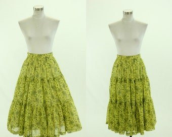 1950's Sheer Peasant Skirt XS S Floral Gypsy Boho Hippie Tiered