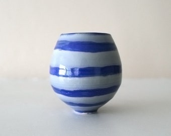"Tiny Stoneware Cup with Ocean and Sky Design / Wheel Thrown / Cobalt and Cerulean / ""SAN SHUI 3"""