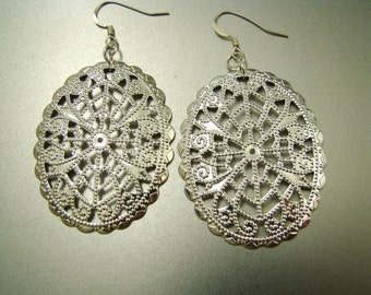 Sale Silver Filigree Earrings. Statement Jewelry
