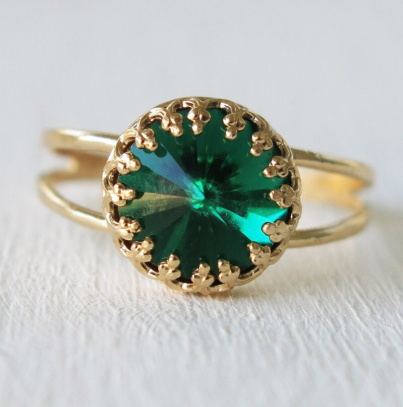 emerald ring gold ring swarovski ring green by sohocraft