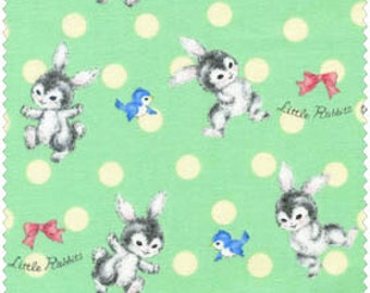 Dear Little World - Baby Bunnies Quilt Fabric from Quilt Gate Rabbits on Green