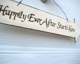 Rustic Wedding Sign -Woodburned Directional Wedding Sign -Personalizable