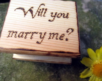 Engagement mini ring box -Rustic pyrography for guys who propose