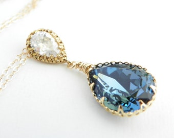 Denim Blue Swarovski Pendant Necklace Cubic Zirconia Drop Necklace Gold and Blue Wedding Blue Teardrop Crystal Necklace Bridal Jewelry