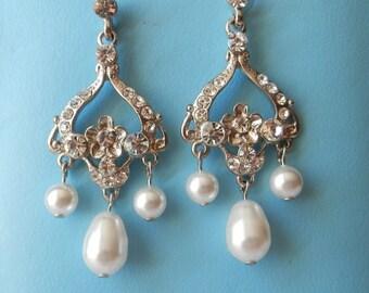 Swarovski Pearl Chandelier Earrings Party Chandelier Earrings Bridesmaids Earrings #E3139