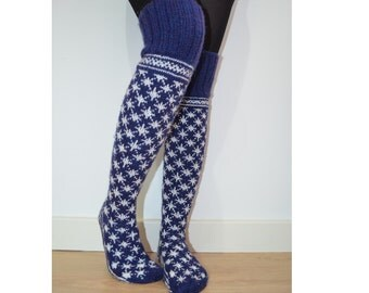 Hand Knit Wool Socks Above the Knee Blue White Christmas Snowflake Winter Fairisle Scandinavian Slippers