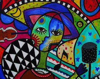 Mexican Musiko Mariachi Artist Guitar Player Piano Original Painting