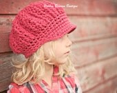 Crochet Slouch Hats for Girls, Slouchy Beanie, Red Slouchy Newsboy Hat, Toddler Hats, Crochet Toddler Hat, Cotton, 12 Months to 4T