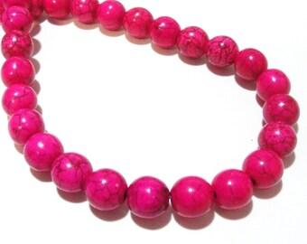"""Hot Pink Round Beads - Howlite Gemstone Beads -Smooth Round Ball - 10mm - 14"""" Full Strand - Dark veins Matrix Stone - DIY Jewelry Making"""