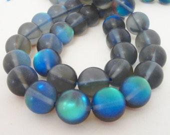 "Blue Moonstone Matte Beads - Blue Smooth Round Beads - Flashy Blue -12mm - 7.5"" Strand -Semi Precious Gemstone Beads - DIY Jewelry Beading"