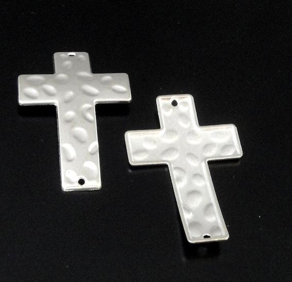 Silver cross bracelet connector sideways
