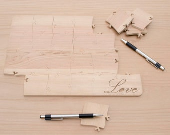 """60 Piece """"Love"""" Inscribed Wedding Guestbook Puzzle"""