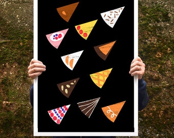 "A party without cake is just a meeting - Poster print  20""x27"" - archival fine art giclée print"