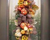 Fall Swag, Fall  Wreath, Autumn Wreath Fall, Floral Arrangement, Fall Table Arrangement, Cascading Pumpkins
