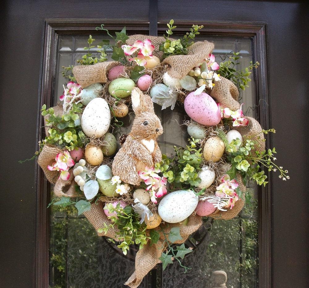 Easter Egg Wreath Easter Bunny Wreath Front Door Wreath