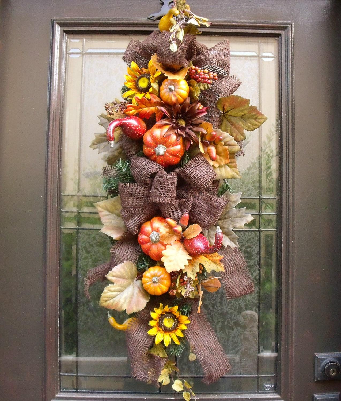 Fall Door Arrangements: Fall Swag Fall Wreath Autumn Wreath Fall Floral