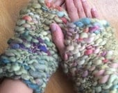 HANDKNITTED FINGERLESS MITTENS,  Green Woolly Gloves,  Warm Winter Fashion,
