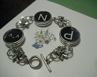 6pcs 25mm silvery white double rings Pewter round bezel blank bracelet
