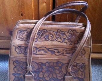 Sale Vintage 70s distressed Tooled Leather Bag Purse Hippie Boho