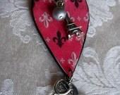 PARIS CHIC Romantic Pink Heart Fleur De Lis Charm Necklace