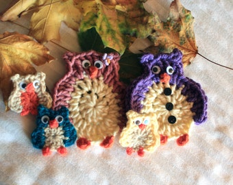 Crochet Owl Familly, Crochet Owl Applique,Crochet Owl Decoration, Crochet Owl Pendant for Key, Halloween Ornaments, Owl Bag Accessory