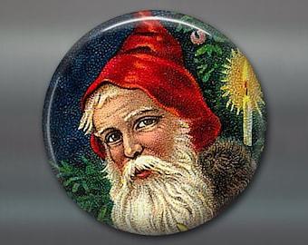 holiday magnet, victorian santa magnet, christmas decoration, kitchen decor, christmas tree ornament  MA-1331