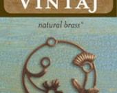 Vintaj Brass Co,32mm Perennial Laurel , Vintaj Brass Charms.Destash jewelry supplies