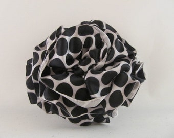Ribbon Rose Pin-Hair Clip-Brooch-Black and White-PolkaDots