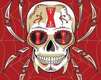 Black Widow Spider Sugar Skull Print 11x14 print