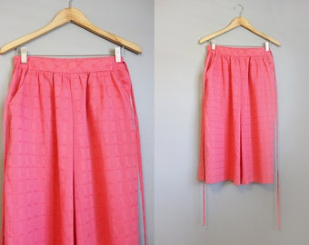 Coral Skirt Vintage Tie Waist 80s Midi Summer Pink Medium