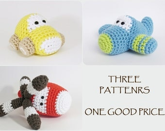 Crochet patterns amigurumi vehicles - car, airplane and helicopter - written in US English
