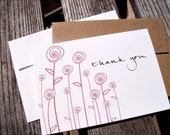 Thank You Cards - Red Roses Botanical Thank You Notes, Tall Standing Roses Red White Thank You Card Set, Floral Stationery, Bridal Thanks