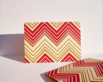 Chevron Note Cards - Chevron Stationery Holiday Thank You Notes, Red Cream Gold Chevron Card Set, Modern Geometric Folded Note Cards