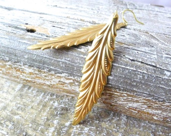 Gold Plumes Earrings - Long Golden Brass Feather Earrings