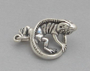 Sterling Silver 925 Charm Pendant Heavy 3D Lizard CHAMELEON IGUANA 2800