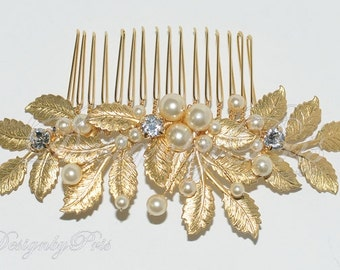 SALE Bridal Accessories Wedding Hair Accessories Bridal Gold Tone Swarovski Rhinestone Crystals and Pearls Comb