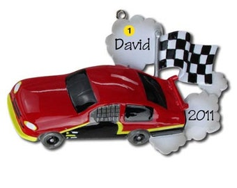 Personalized Christmas Ornaments Racecar Sports Cars, Child Race Car-  Blue, Green Black