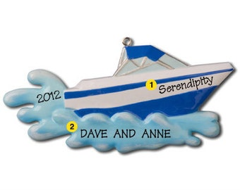 Personalized Christmas Ornament Speed Boat, Water Sports, Nautical theme- Free Personalization